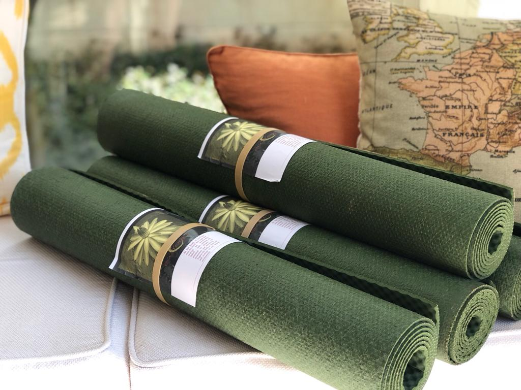 On Retreat we only use EcoYoga Mats - contact us if you live in Italy and would like to buy one. Made from jute and natural rubber - totally biodegradable and organic. 10 year life span.