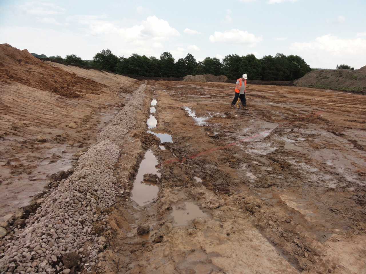 The underlying ground conditions were such that the team encountered significant problems with ground water and running sand, which meant that parts of the site could not even be walked on, whilst others felt as though the ground was a trampoline!