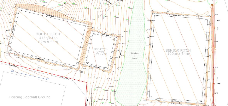 Pitch layout, cut & fill plan