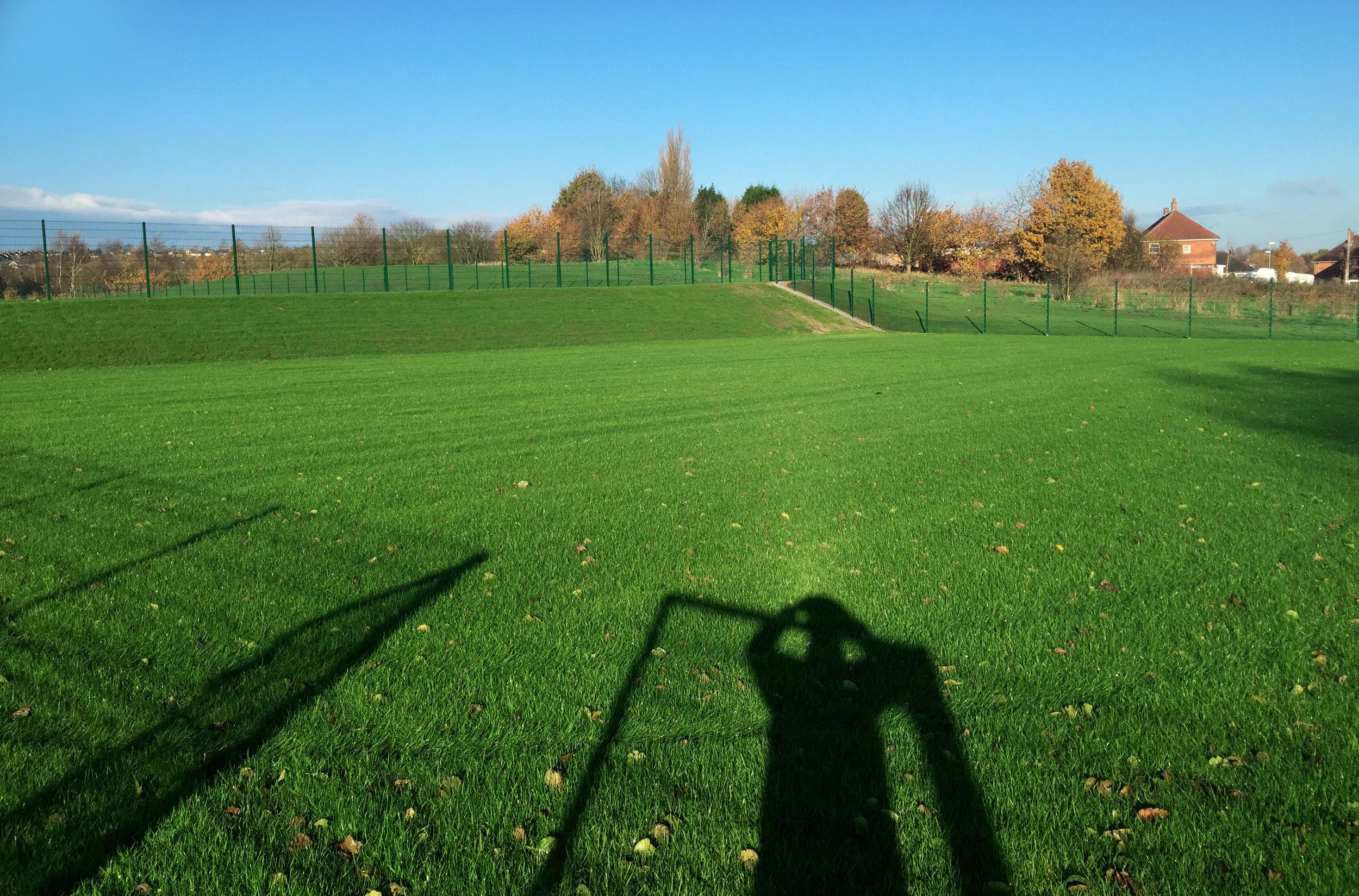 Mini-soccer pitch after first cut (December 2014).
