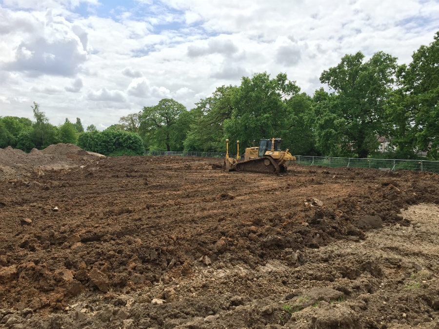 Topsoil is stripped and stockpiled