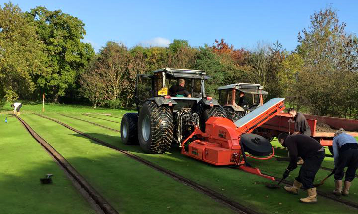 55mm wide trenches are cut, with excavated spoil being tipped directly into a trailer. This spoil is often useful, as the trenching operations sees it excavated as fine topsoil that can be put to use elsewhere on the course.