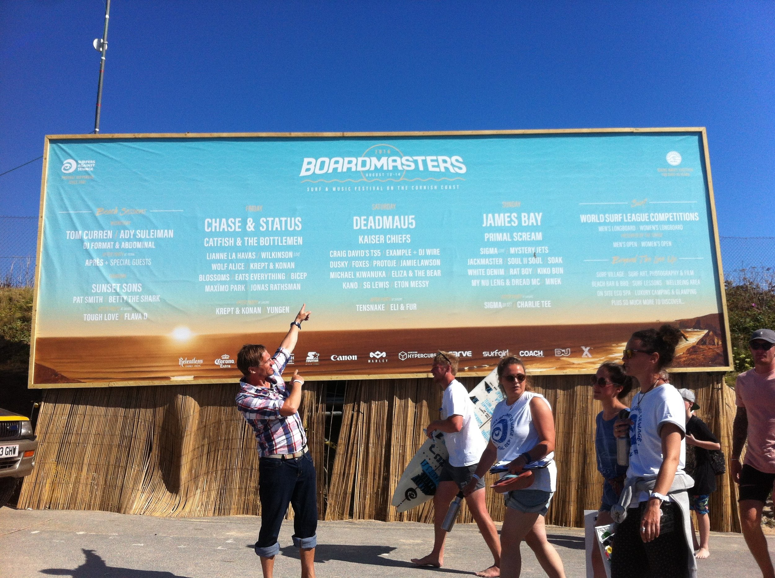 www.boardmasters.com.   I could not believe my ears when I found out I would be performing at the 2016 Boardmasters Surf and Music Festival.  What an event, what a brilliant stage crew, the weather was fantastic and I even scored a few waves.  I hope one day to be back to play again.  Cheers cornwall and all the surf community.