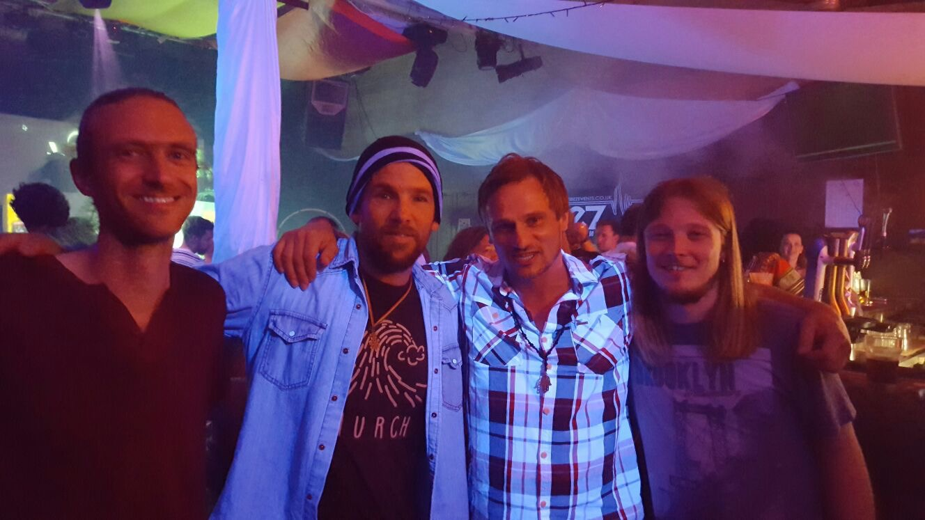 (Left to Right). Vlad, Mishka, Rujiero, Josh. Great to play another support slot for MISHKA again. Without doubt, one of the best Roots Reggae singer songwriters of our generation. www.mishka.com