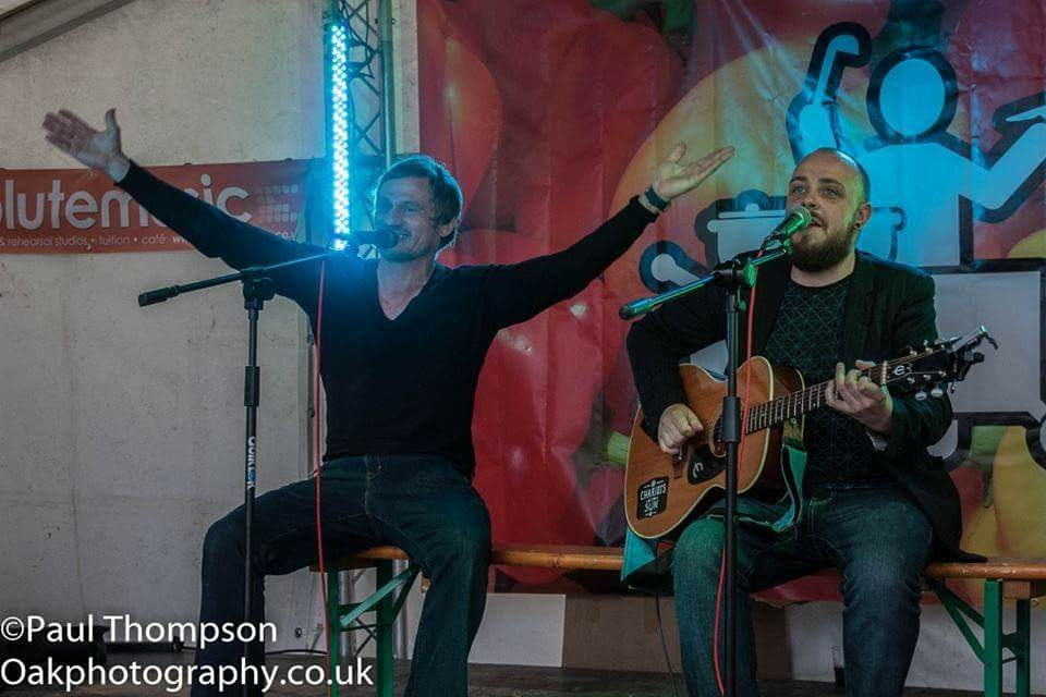 Sharing the stage with one of the most talented local Guitarist, Singer-Songwriter and friend Mr Anthony Lewis. Thanks Bro, every time!.2016 Bournemouth Food and Drink Festival.