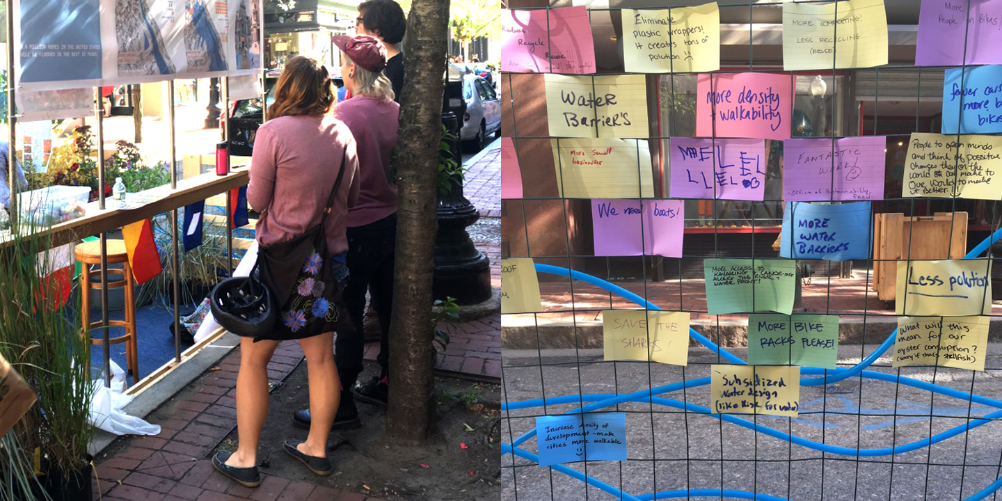 """PARK(ing) Day Providence 2016 - """"Sea Level Rise and the Ocean State"""" - a temporary pop-up park engaging the community about how climate change and sea level rise is affecting Providence and Rhode Island - Designed by Searle Design Group, LLC."""