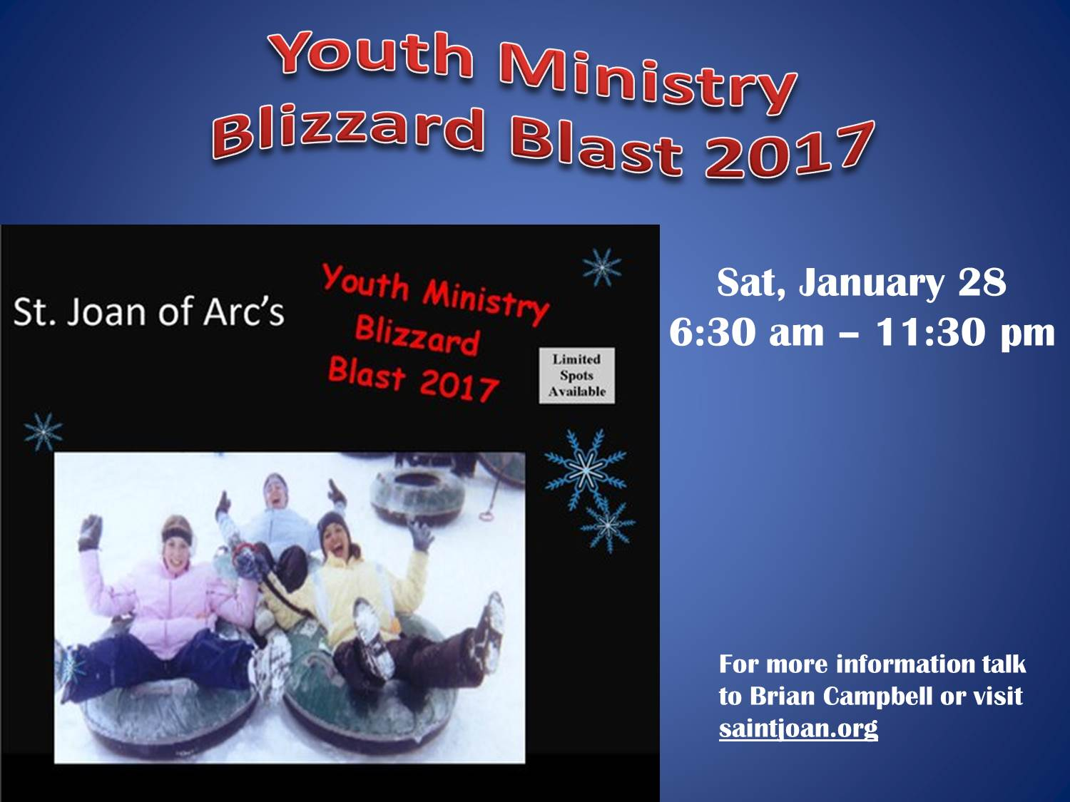 The Annual Youth Blizzard Blast is just around the corner - Saturday, January 28.