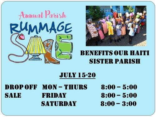 Annual Parish Rummage Sale July 15-20 — Saint Joan of Arc Catholic