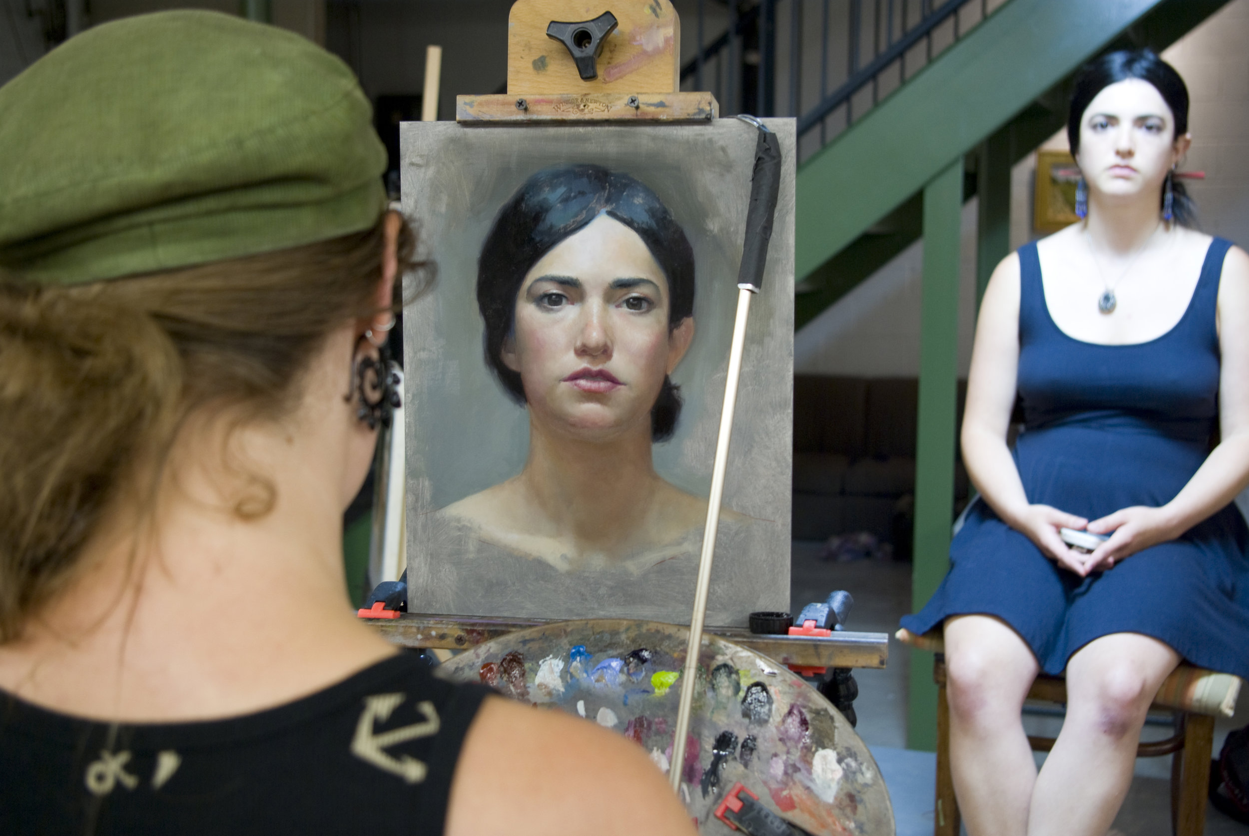 The artist Elizabeth Zanzinger at work in David Kassan's Portrait Painting Workshop. Over the years, we have had many talented figurative artists both study and teach workshops for us. We offer a terrific environment for the serious study of traditional techniques. We welcome artists of all levels and ability.