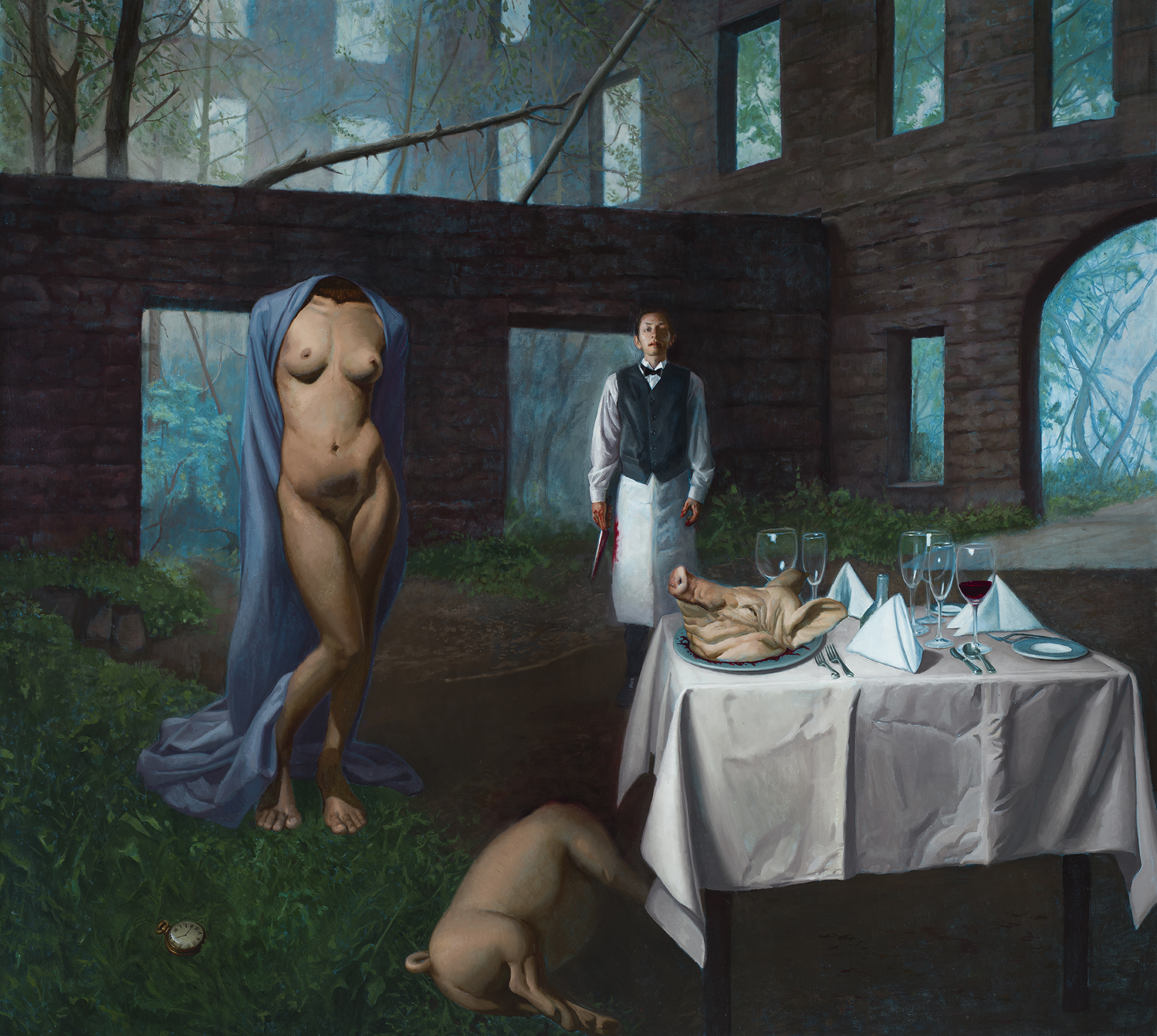 "The Waiter's Dream , oil on linen, 62 x 74 inches,In 2017, Zeller co-curated ""The New Baroque"" exhibition at Booth Gallery in NYC and created this painting ""The Waiter's Dream"" for it. The exhibition was based on his book, The Figurative Artist's Handbook""."