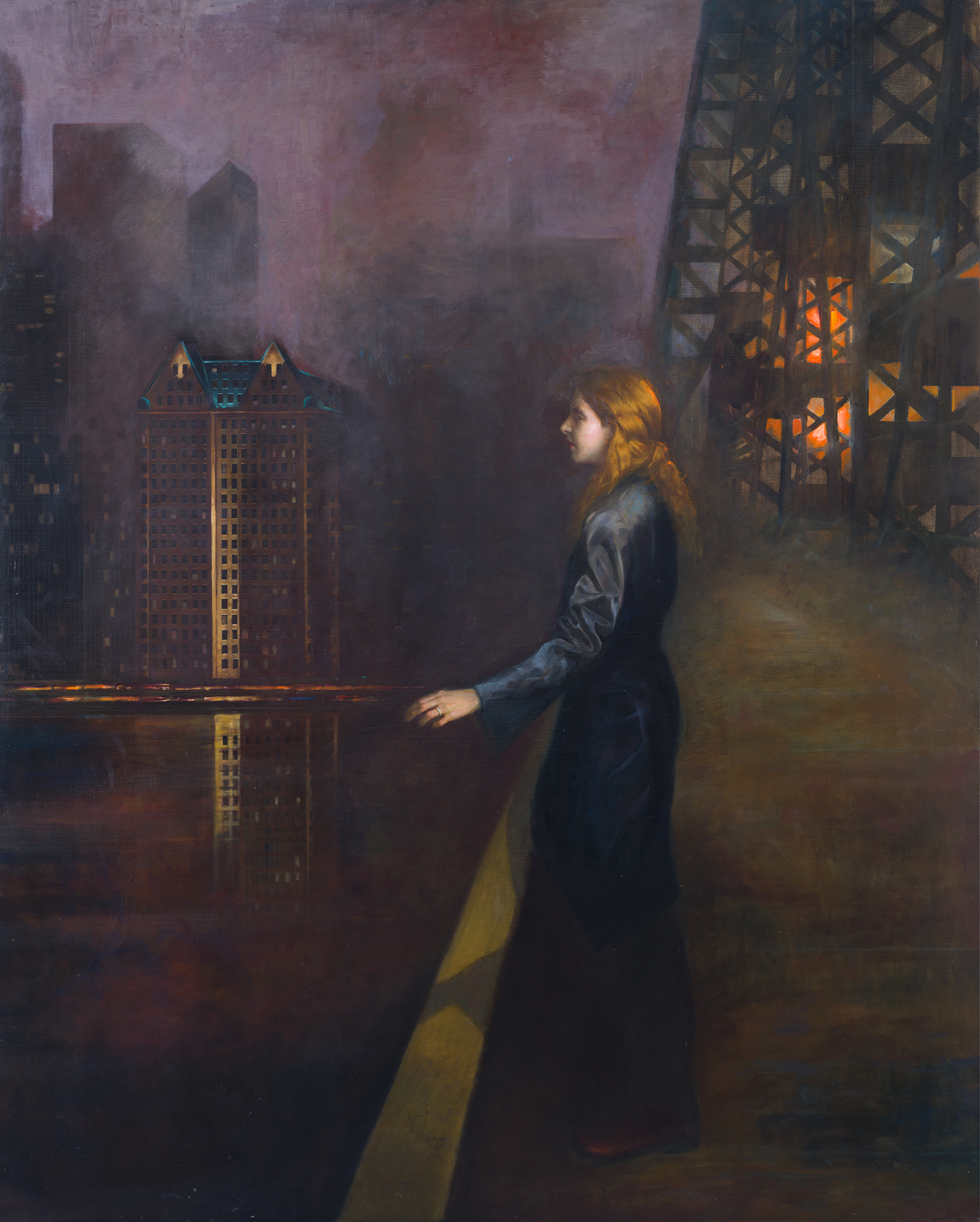 Daisy on the Queensboro,  oil on linen, 48 x 62 inches, 2018.