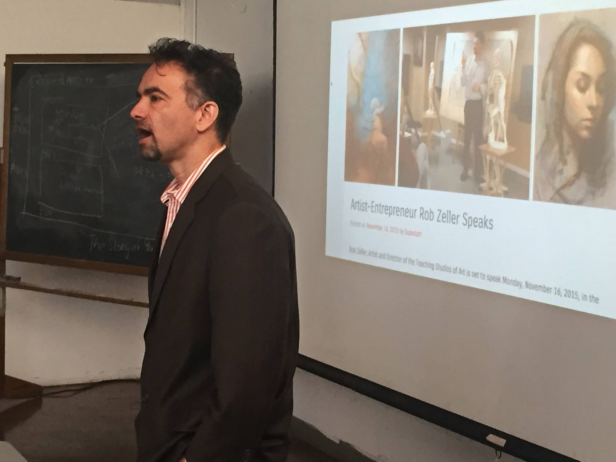 Zeller gives a lecture to students at Long Island University as part of their  Artist's Entrepreneurs Series.