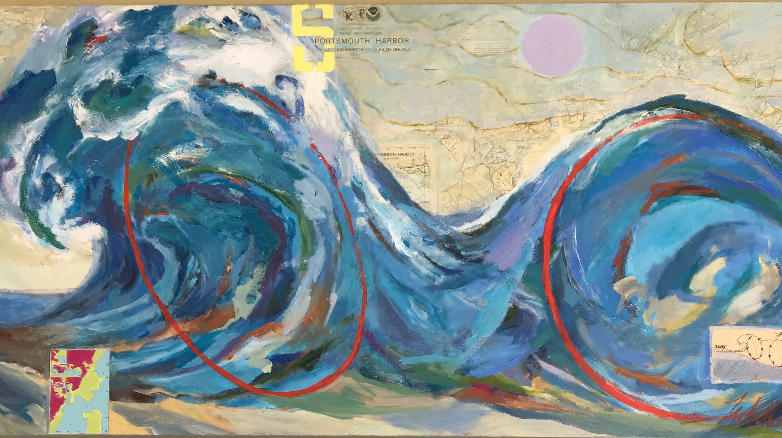 "$3200. Equinox Wave (ORIGINAL) 48"" X 24"" mixed media acrylic with nautical charts collaged into painting surface."