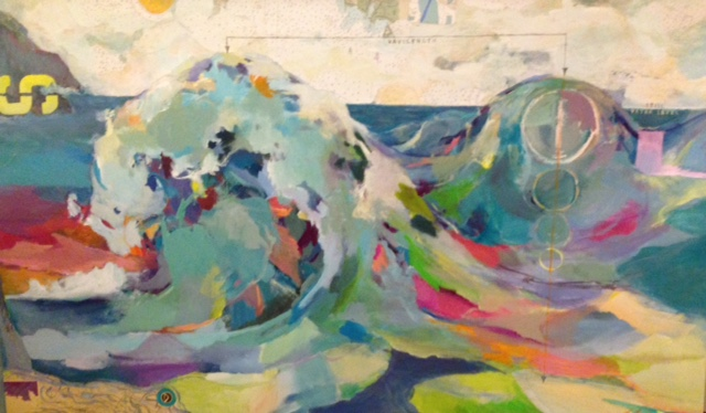 "SOLD - Deconstructed Wave (ORIGINAL) 72"" X 36"" mixed media painting with collaged nautical charts."