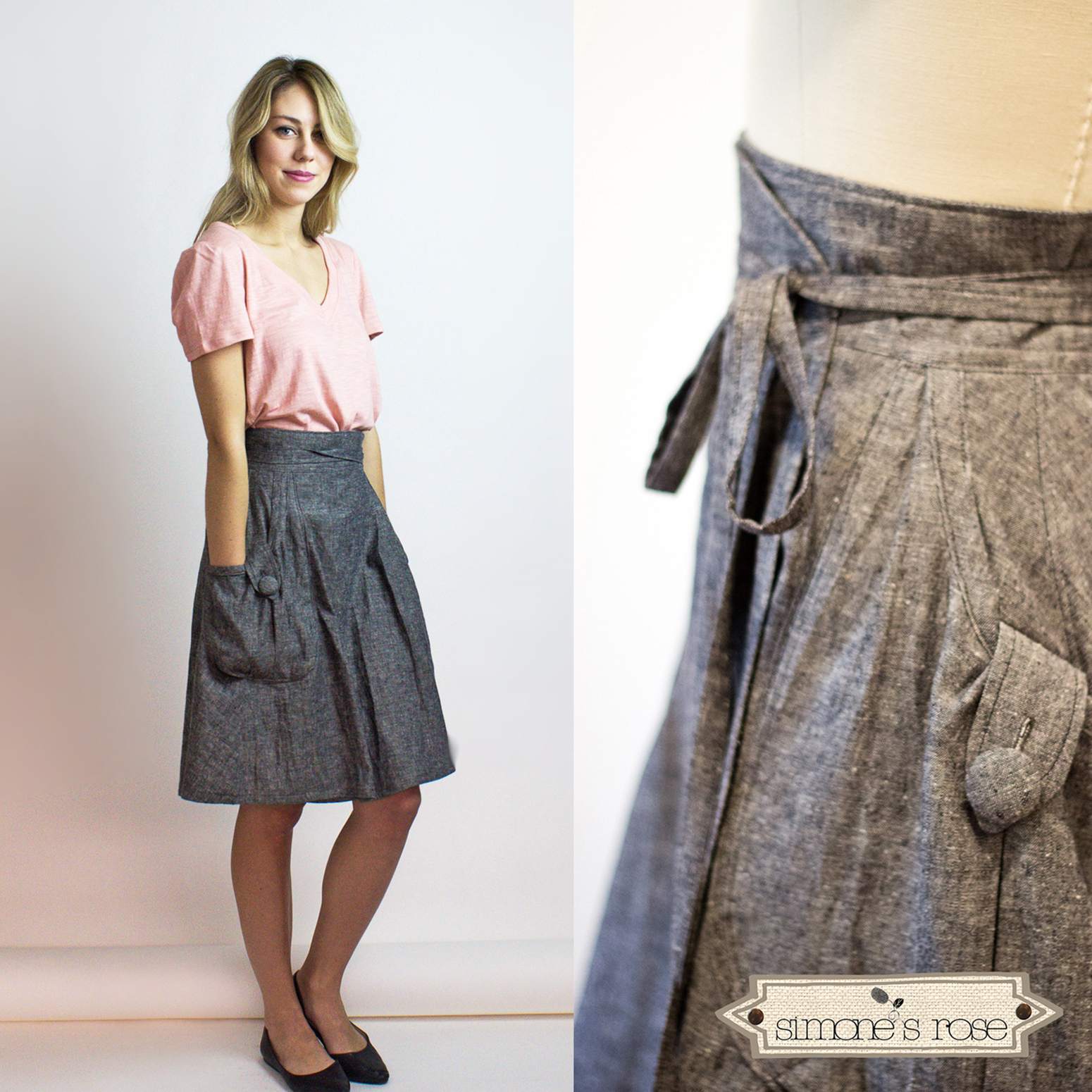 Heartland wrap skirt / Gray denim