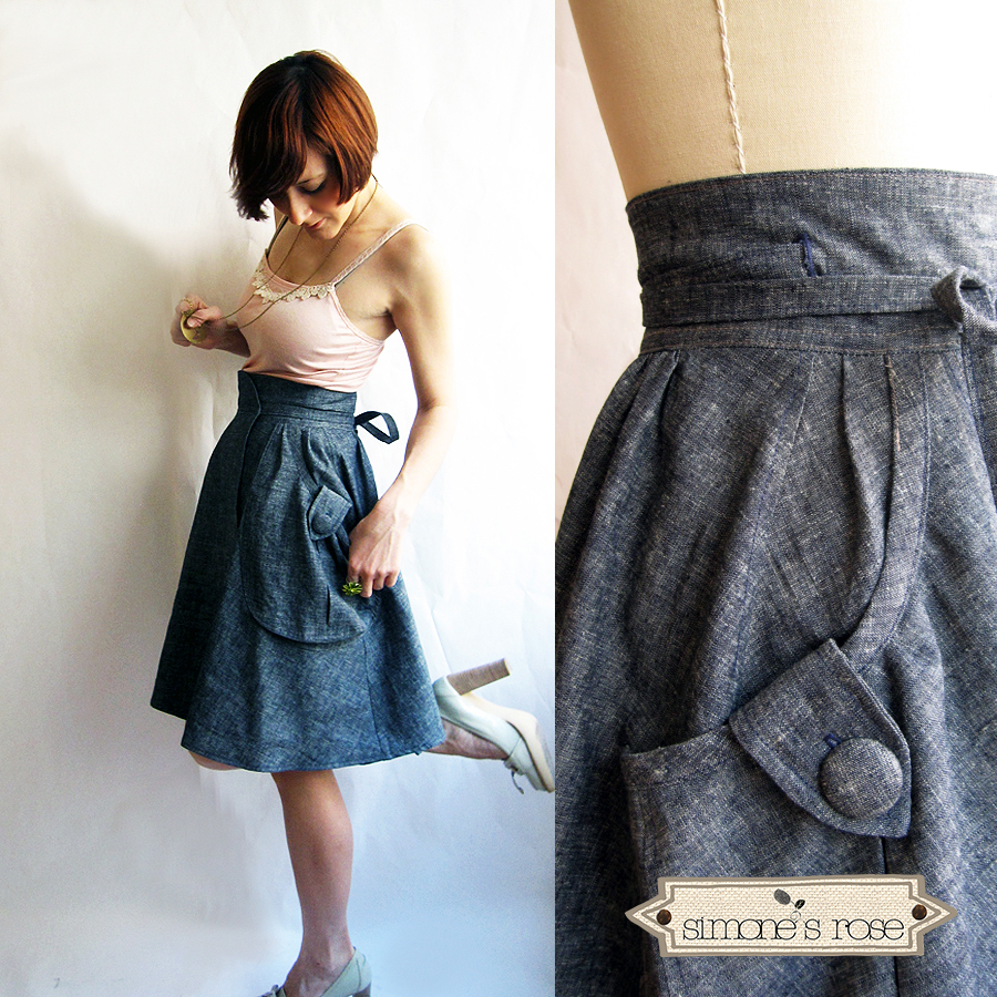 Heartland wrap skirt - Dusty Blue
