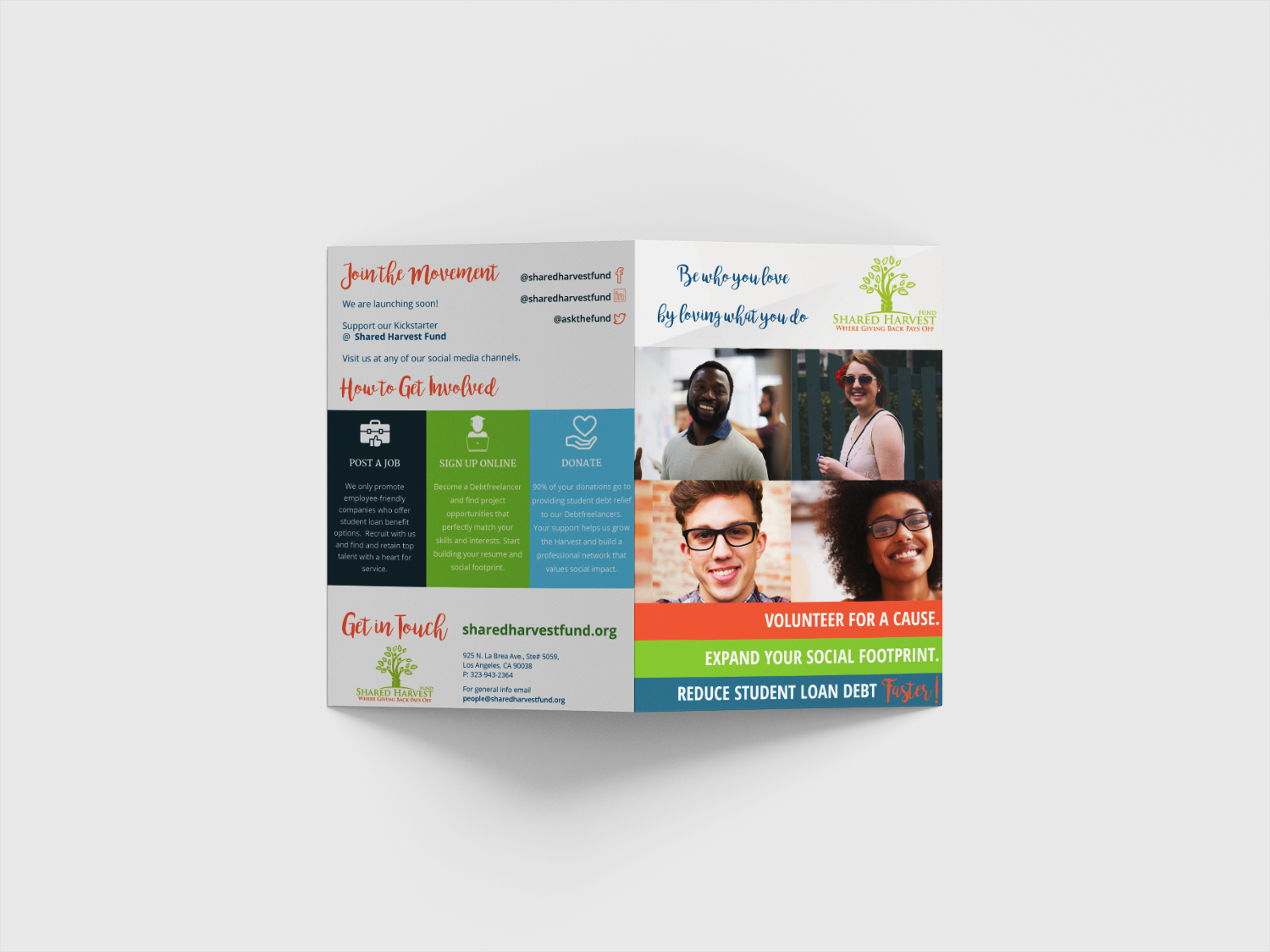 Brand refresh and brochure design for The Shared Harvest Fund to assist the company in their bi-annual fundraising campaign.