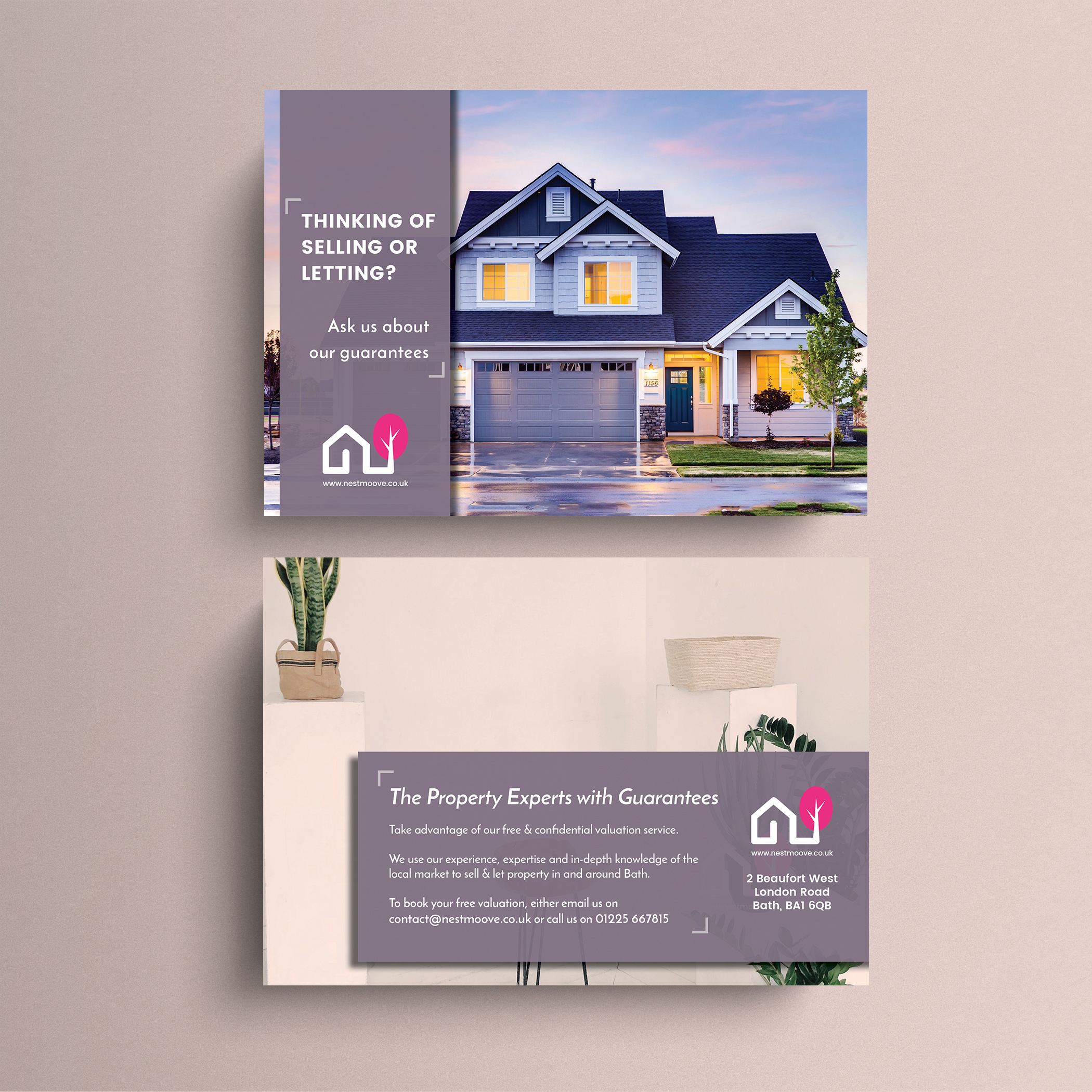 Design of A5 postcards for a real estate company to support their annual lead generation campaign (print and interactive).