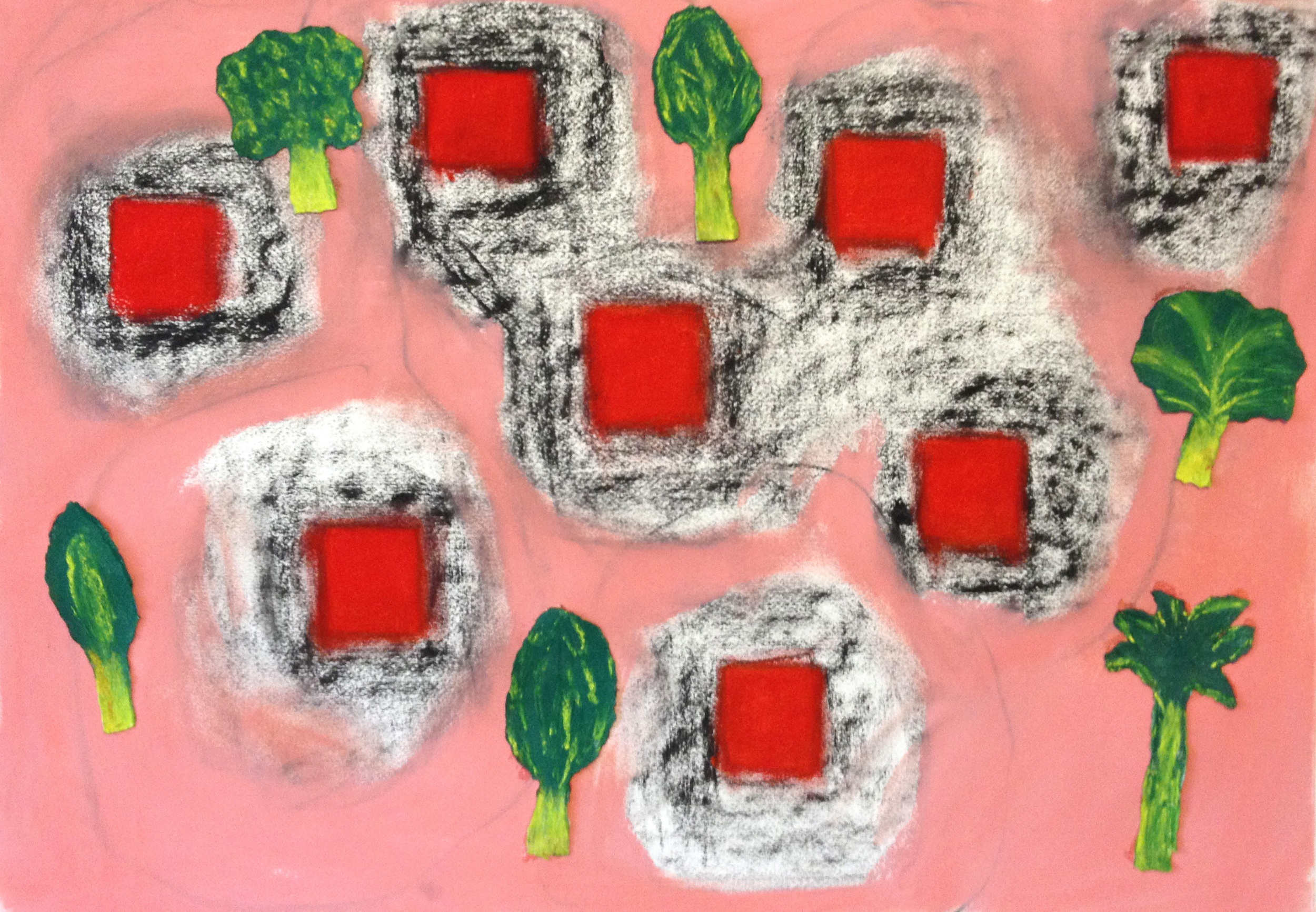 """Red Pools 3  22"""" x 30"""" Pastel on paper 2014"""