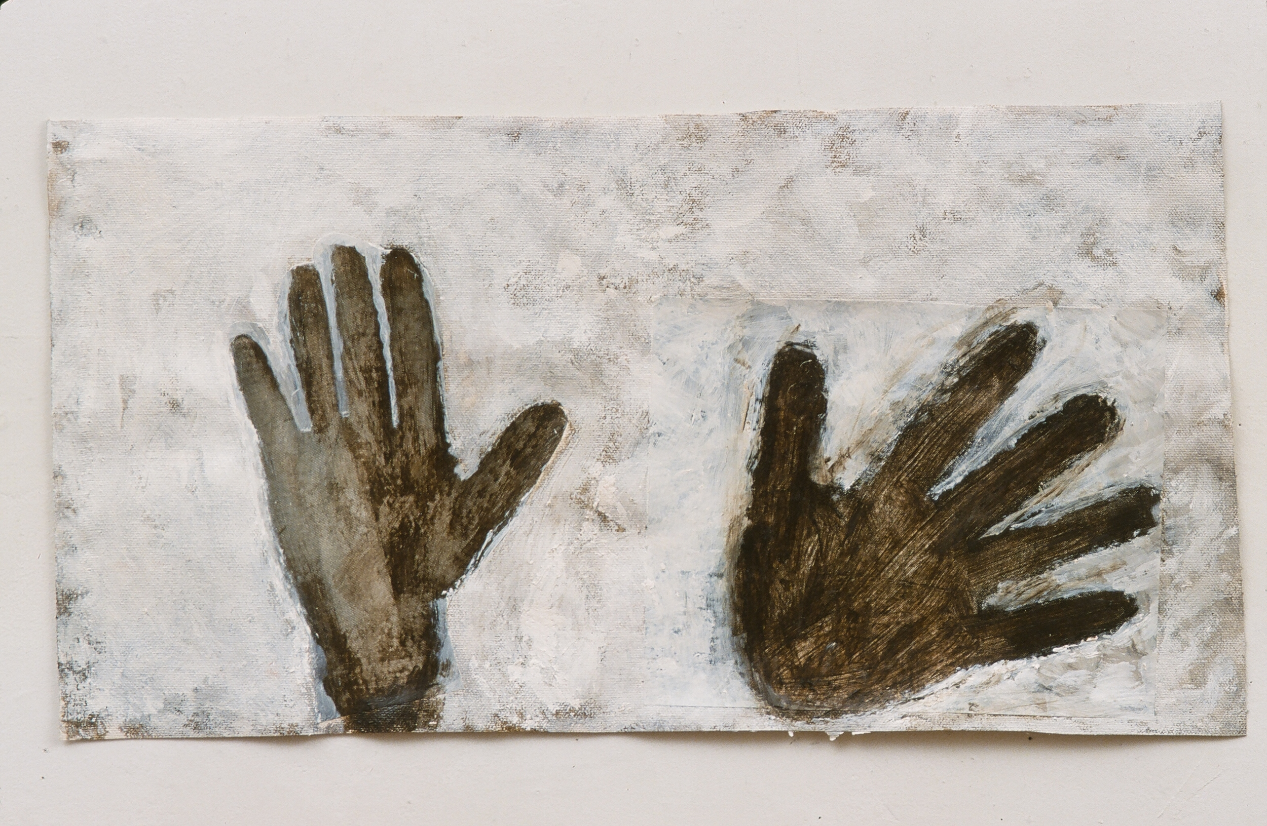 """Absence of hands 1  9"""" x 22"""" Xerox, pigment and acrylic on canvas 2006"""