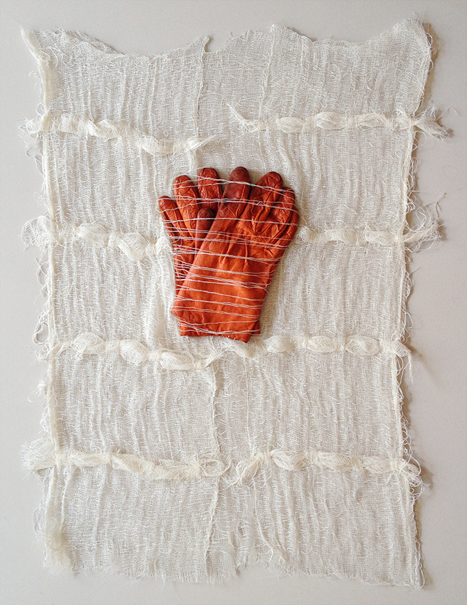"""Absence of hands 3  24"""" x 19"""" Cheesecloth, embroidery thread, gloves 2015"""