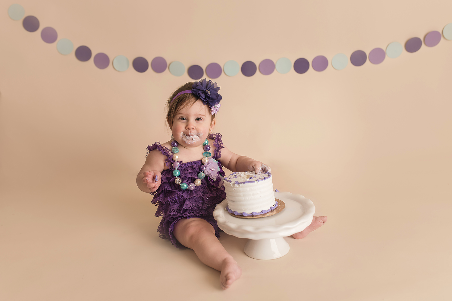 Jessica Fenfert Baltimore Maryland Baby Photographer cake smash girl in purple