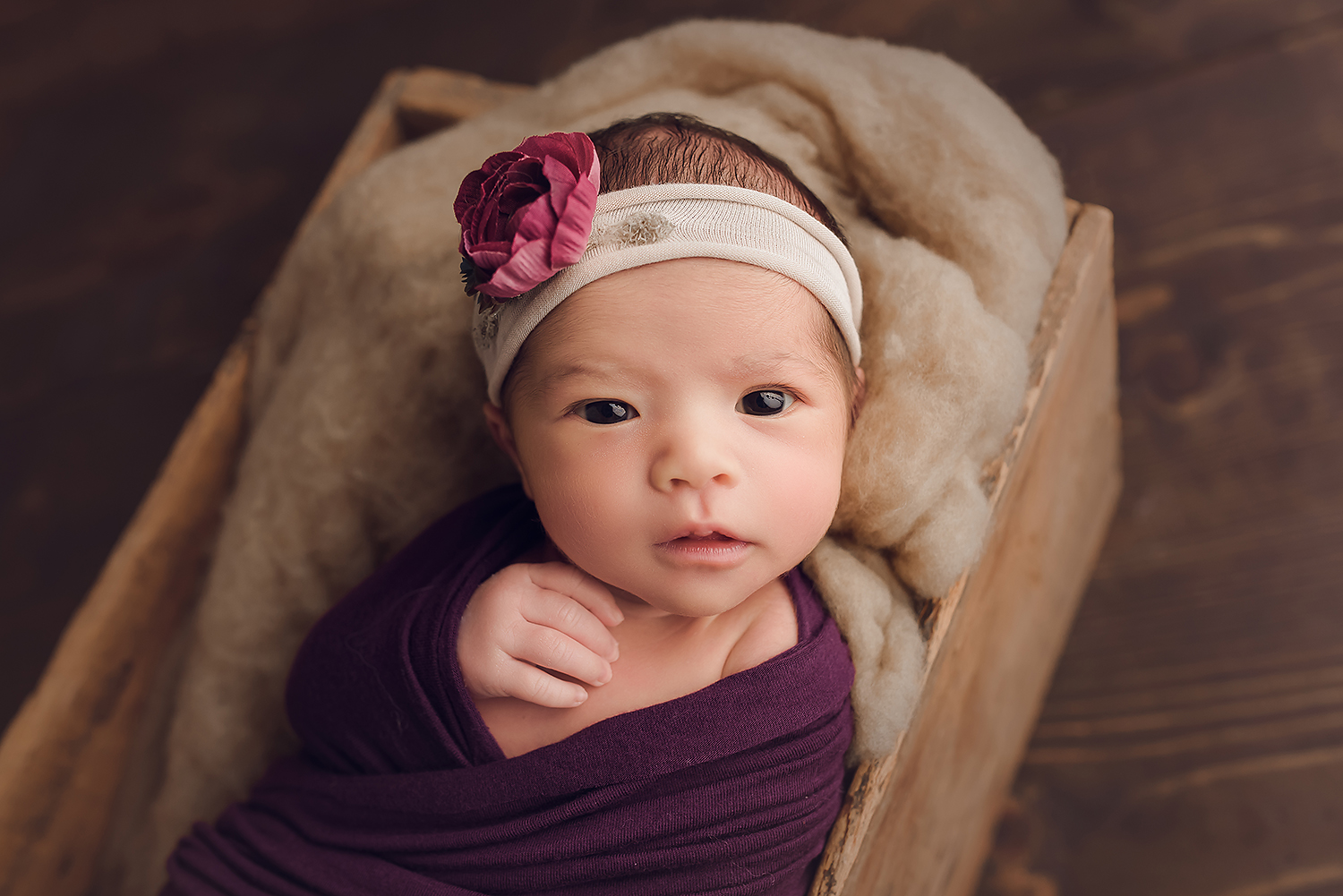 Baltimore Maryland Newborn Photographer Jessica Fenfert baby girl eyes open purple wrap
