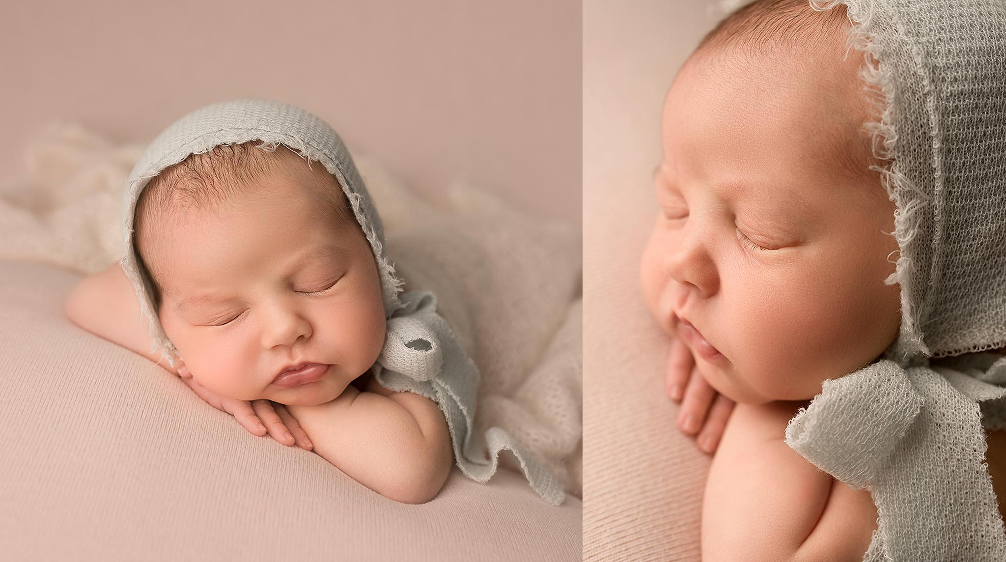 Baltimore Howard County Maryland Newborn Photographer Jessica Fenfert baby girl head on hands