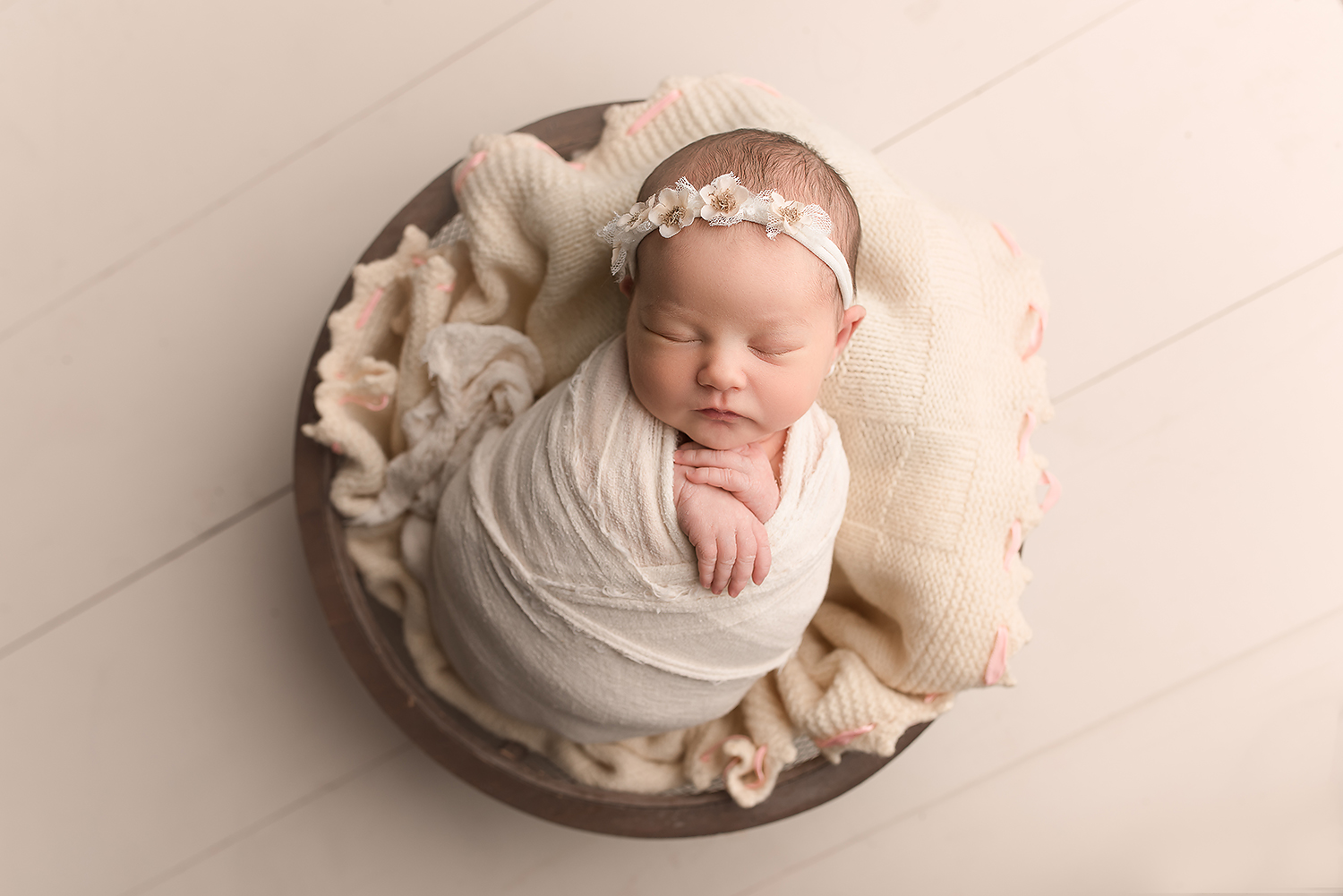 Baltimore Howard County Maryland Newborn Photographer Jessica Fenfert baby girl cream bowl