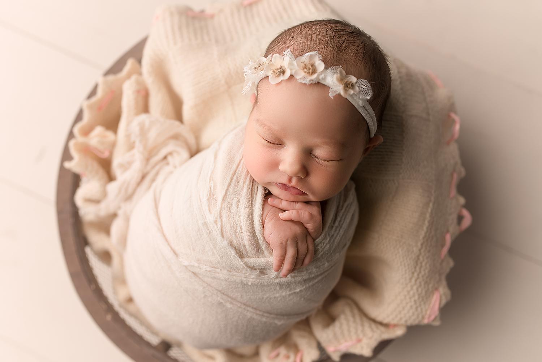 Baltimore Howard County Maryland Newborn Photographer Jessica Fenfert baby girl cream bowl