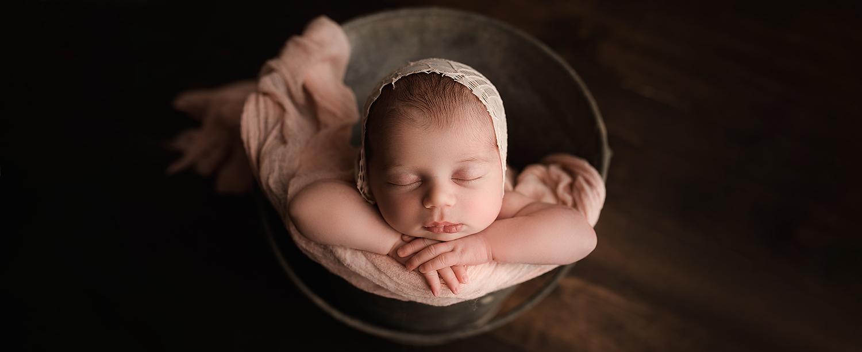 Baltimore Maryland Newborn Photographer Jessica Fenfert baby girl bucket