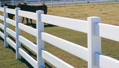 4-Rail Vinyl Post & Rail Fence