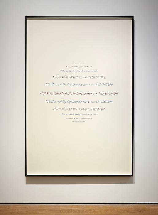 """Complete Poetry (Samuel Beckett),  2014    Lápiz de color, papel / Coloured pencil, paper    209 x 140 cm     *El texto tiene la misma área de color que la tinta usada para imprimir una edición del poema """"Complete Poetry"""" de Samuel Beckett; el papel tiene la misma área que las páginas del libro / The text has the   same area of color as the ink used to print an edition of Samuel Beckett's poem """"Complete Poetry""""; the paper has the same area of the pages of the book."""