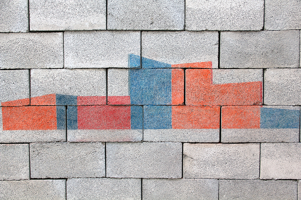 Volcán Ceboruco. Estructura II       /   Ceboruco Volcano. Structure II    , 2012    Bloques de concreto y lápiz de color   / Concrete blocks and coloured pencil    Medidas variables / Dimensions variable    Detalle / Detail