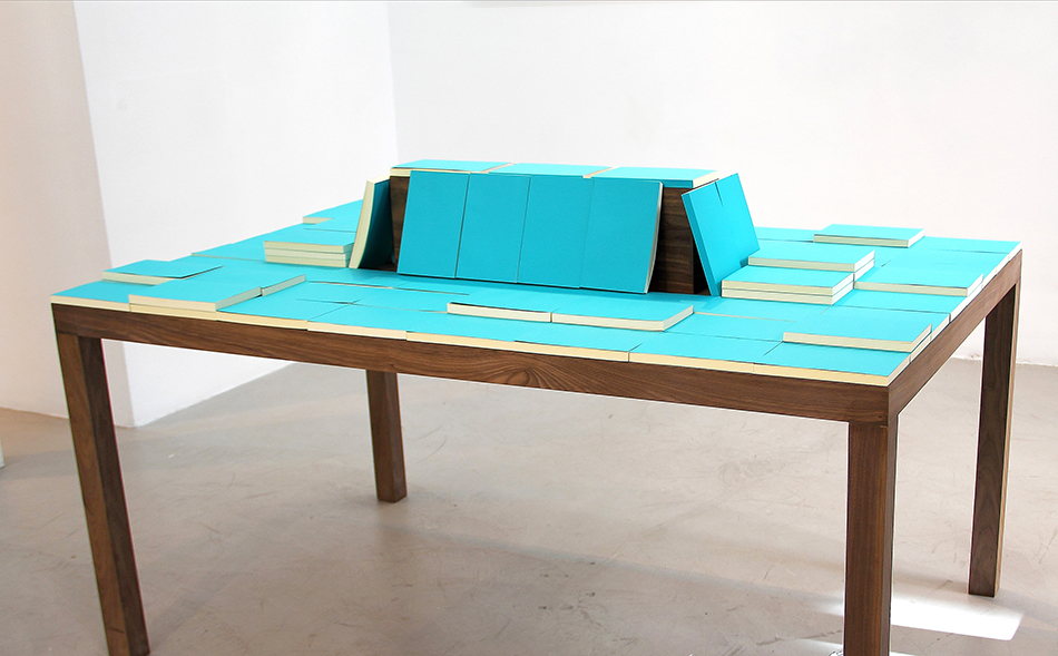 Mesa / Table  , 2014    Papel, madera, libros / Paper, wood, books    102 x 172 x 112 cm