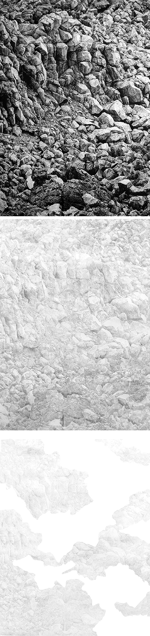 Under the Volcano I    ,    2012    Lápiz de color,papel / Coloured pencil,paper    200 x 150 cm        Under the Volcano II    ,    2012    Lápiz de color,papel / Coloured pencil,paper    200 x 150 cm        Under the Volcano III    ,    2012    Lápiz de color,papel / Coloured pencil,paper    200 x 150 cm
