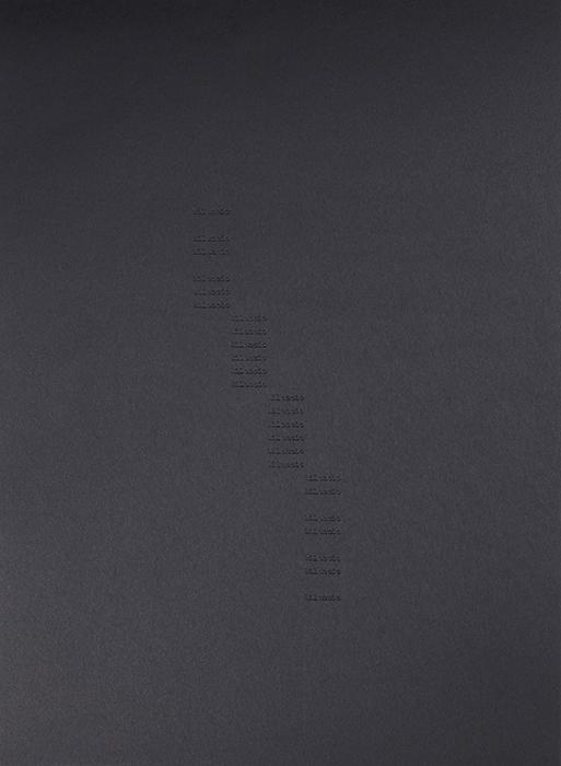 Todos los silencios de los Nocturnos de Villaurrutia / All the Silences in Villaurrutia's Nocturnes,    2016    Bajo relieve sobre papel / Low relief on paper    Políptico de 25 piezas de 37.5 x 27.5 cm cada una / Polyptych of 25 pieces of 37.5 x 27.5 cm each    Detalle / Detail