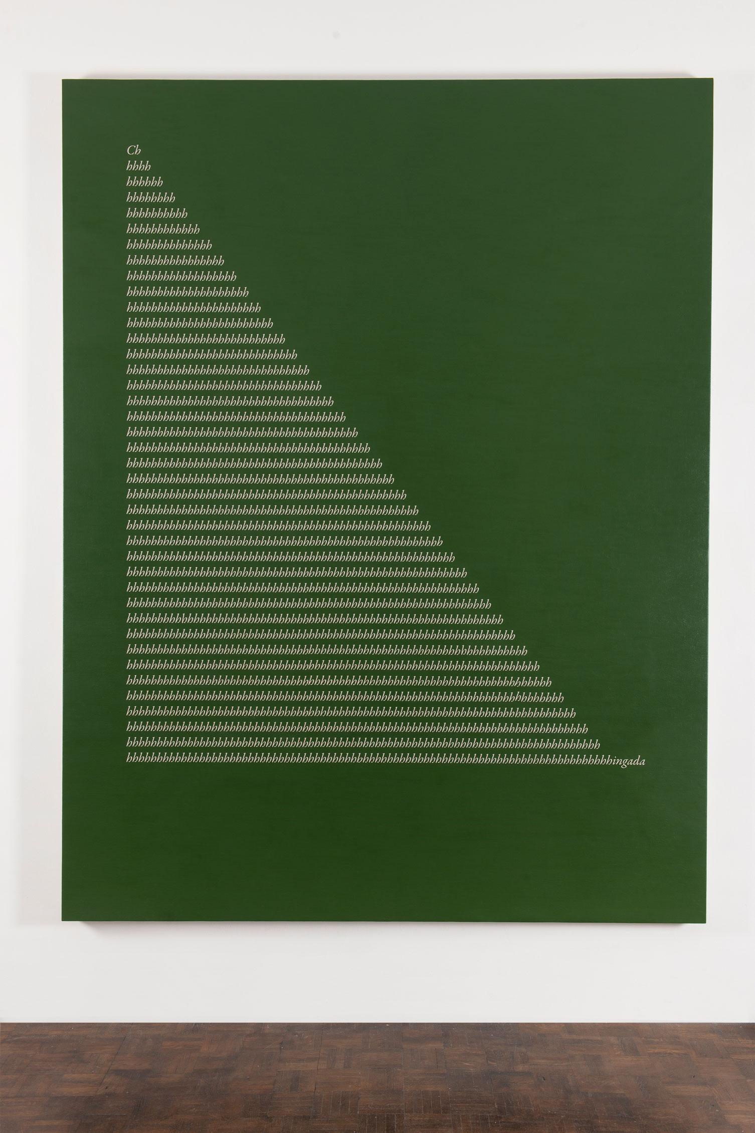 Apollinaire's Misspell I (Green)  , 2017  Acrílico sobre lino / Acrylic on linen  260 x 200 cm