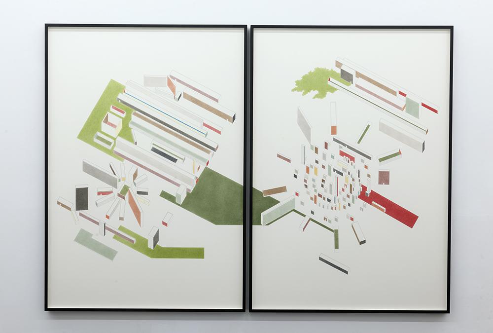 Lettre-ocean (Guillaume Apollinaire) , 2017  Lápiz y lápiz de color sobre papel / Pencil and coloured pencil on paper  Díptico / Diptych 200 x 139,5 cm (cada uno / each)