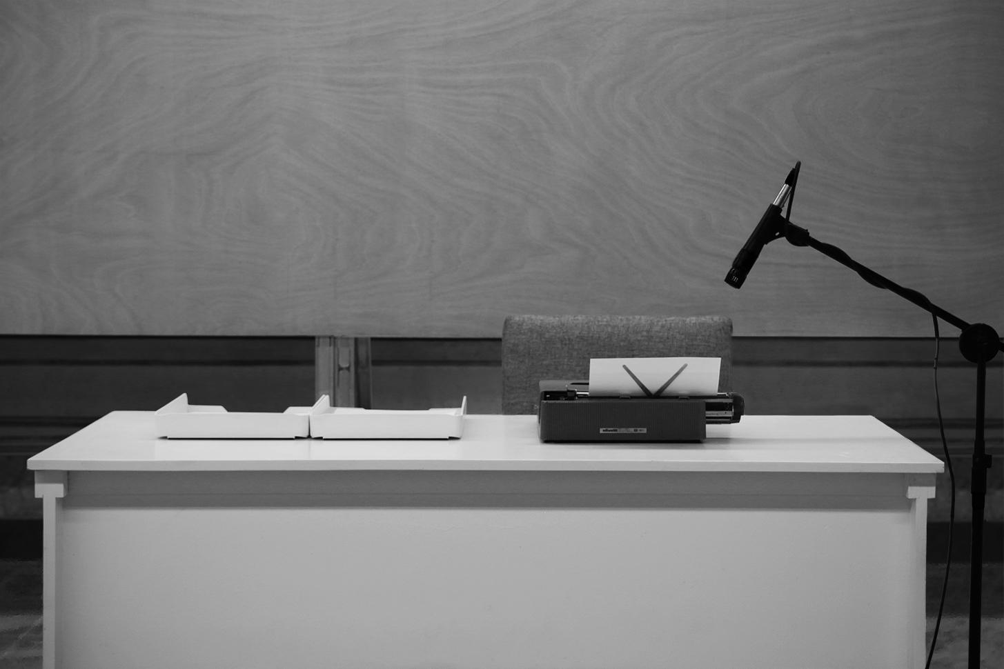 El gran poema inexacto del siglo XX (Cuba)   /  The Great Inexact Poem of the Twentieth-Century (Cuba),   2019  Acción, máquina de escribir, papel, tinta, libros de poesía Cubana del siglo XX de la Biblioteca Nacional de Cuba José Martí / Action, typewriter, paper, ink, books of the Twentieth-Century Cuban poetry section from the Biblioteca Nacional de Cuba José Martí  Medidas variables / Variable dimensions  *Una persona se dirige a la Biblioteca Nacional, toma un libro de la sección de Poesía cubana del siglo XX, memoriza un fragmento, camina hacia la Casa de la Poesía y lo escribe en la máquina de escribir situada en la sala de exhibición / A person arrives at the National Library, he takes a book from the 20th Century Cuban Poetry section, memorizes a fragment, walks towards the Poetry House and writes it on the typewriter machine.