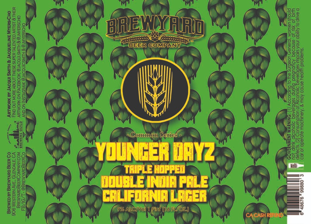 This is a brand new label for the Brewyard for their beer Younger Dayz, it was created from the hops design from the mural that I co-created with Jacqui C. Smith.
