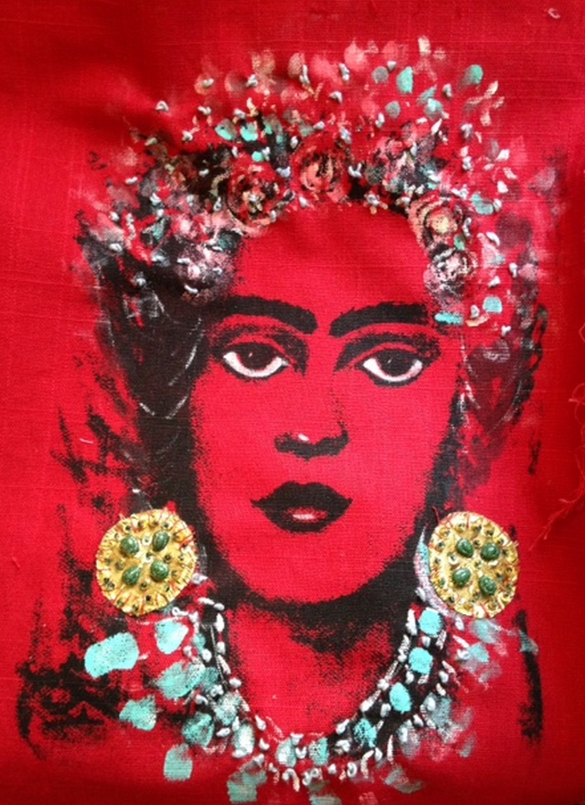 Frida on red cotton sold