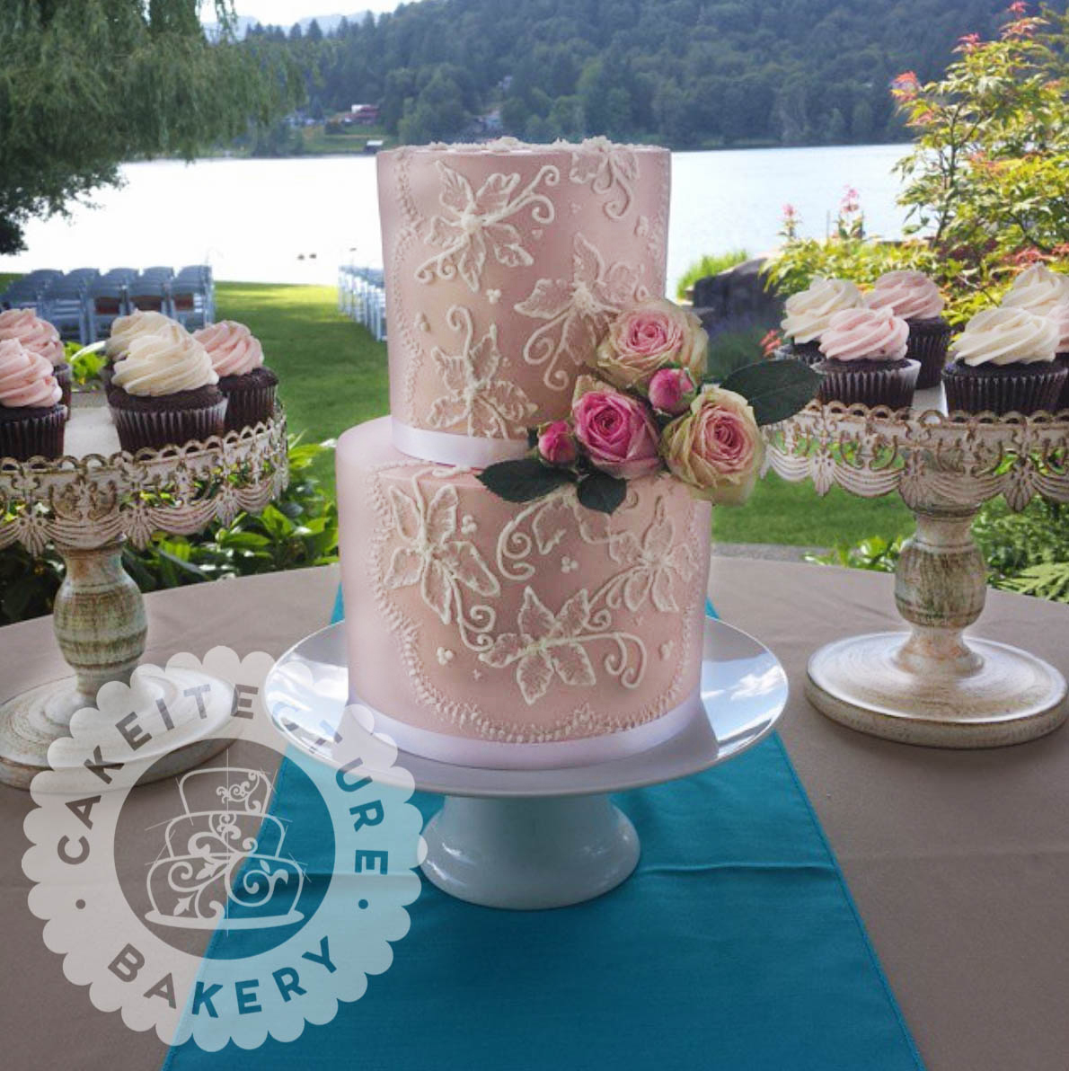 Cakeitecture Bakery Pink satin Wedding 2.jpg