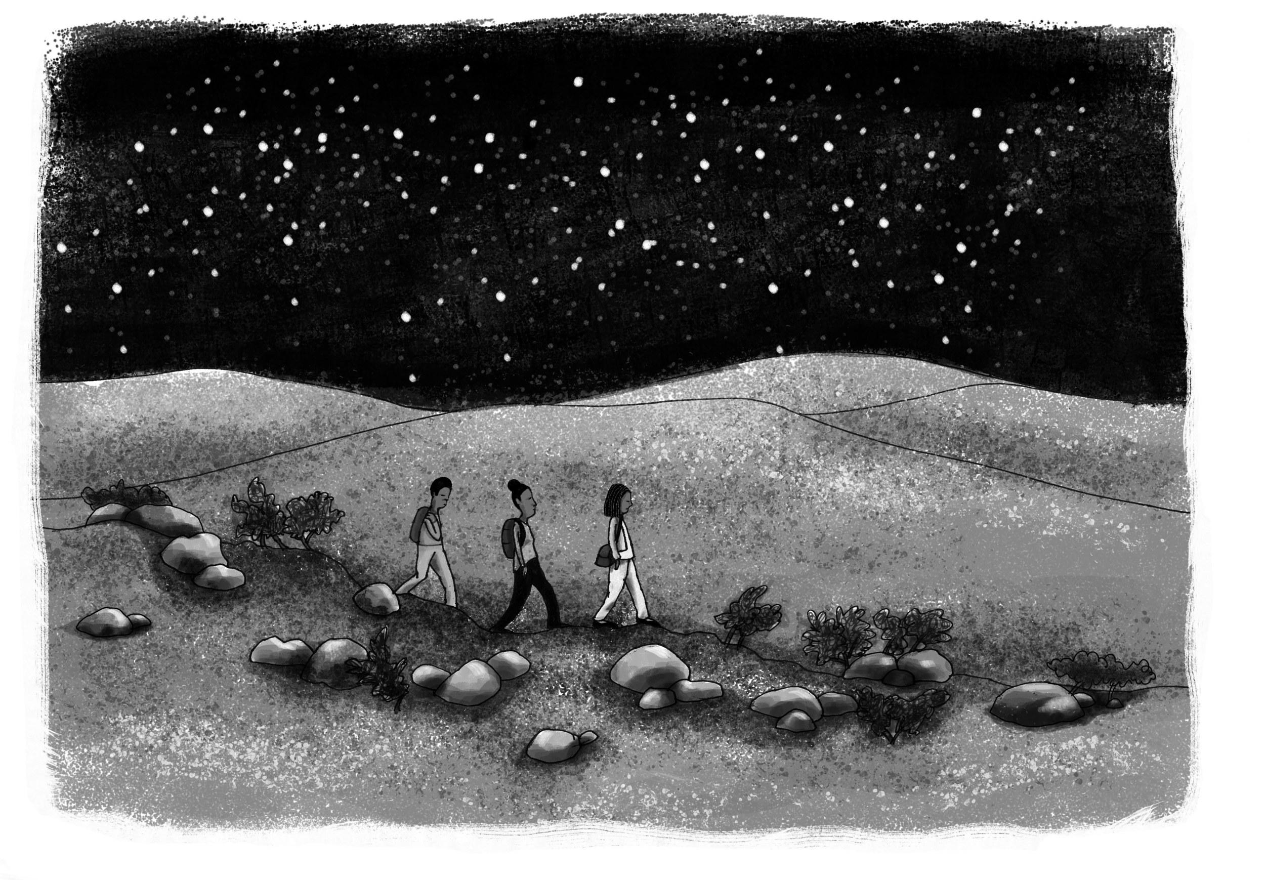 Walking through the desert.