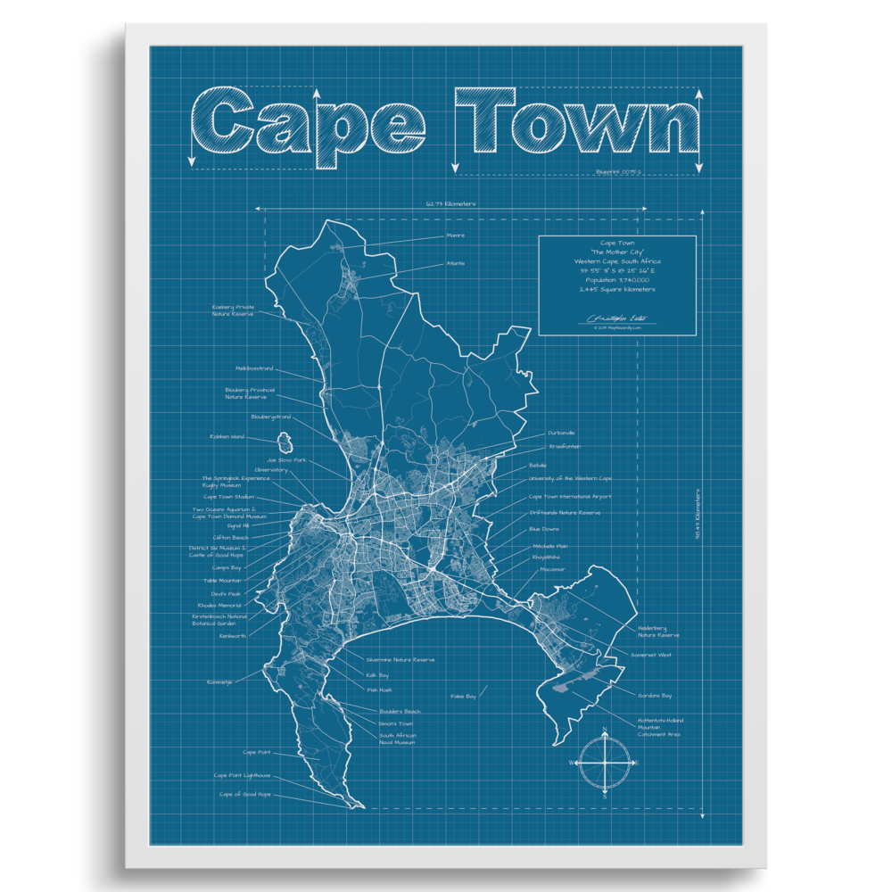 South Africa Wall Map Cape Town South Africa Wall Map Blueprint Style — MapHazardly
