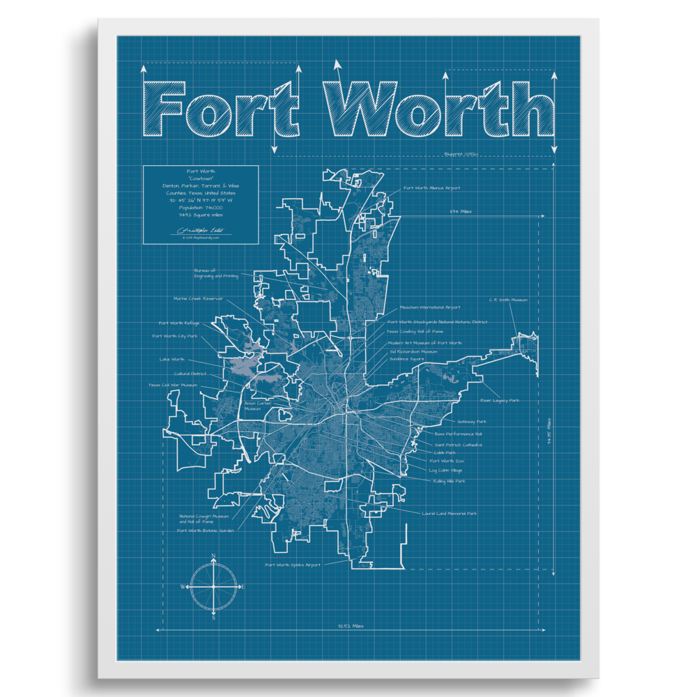 Fort Worth Texas Wall Map Blueprint Style — MapHazardly
