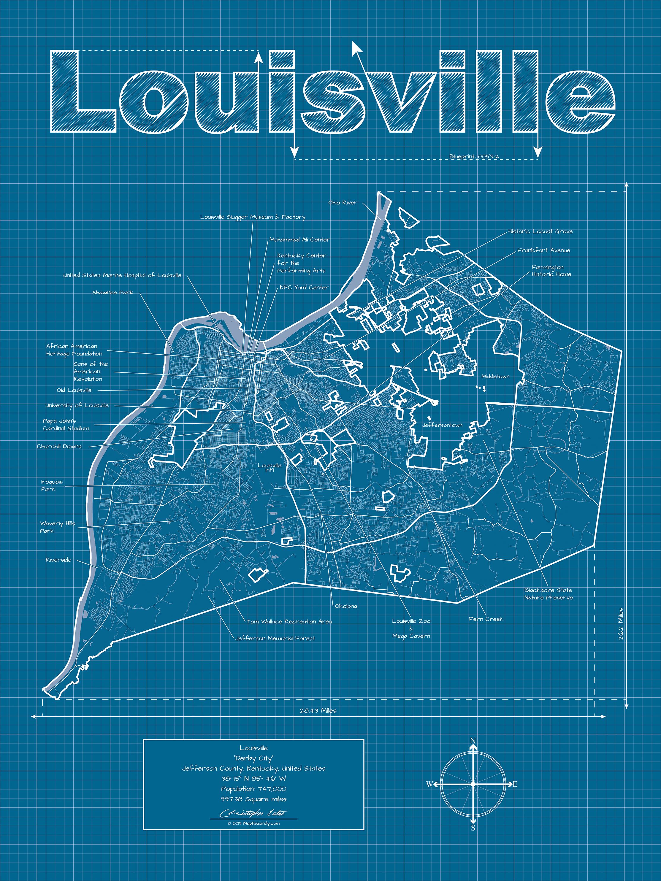 Louisville Kentucky Wall Map Blueprint Style — MapHazardly