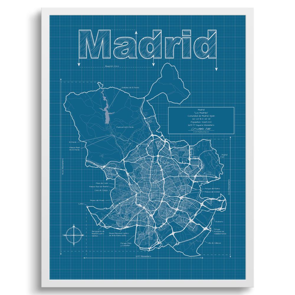Madrid Spain Wall Map Blueprint Style Maphazardly