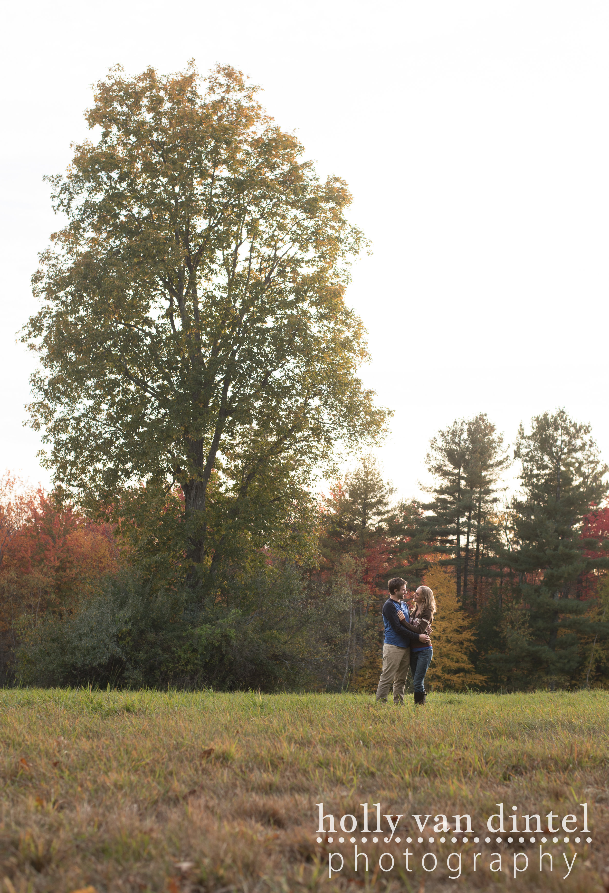 Engaged couple standing in field, hugging under tree