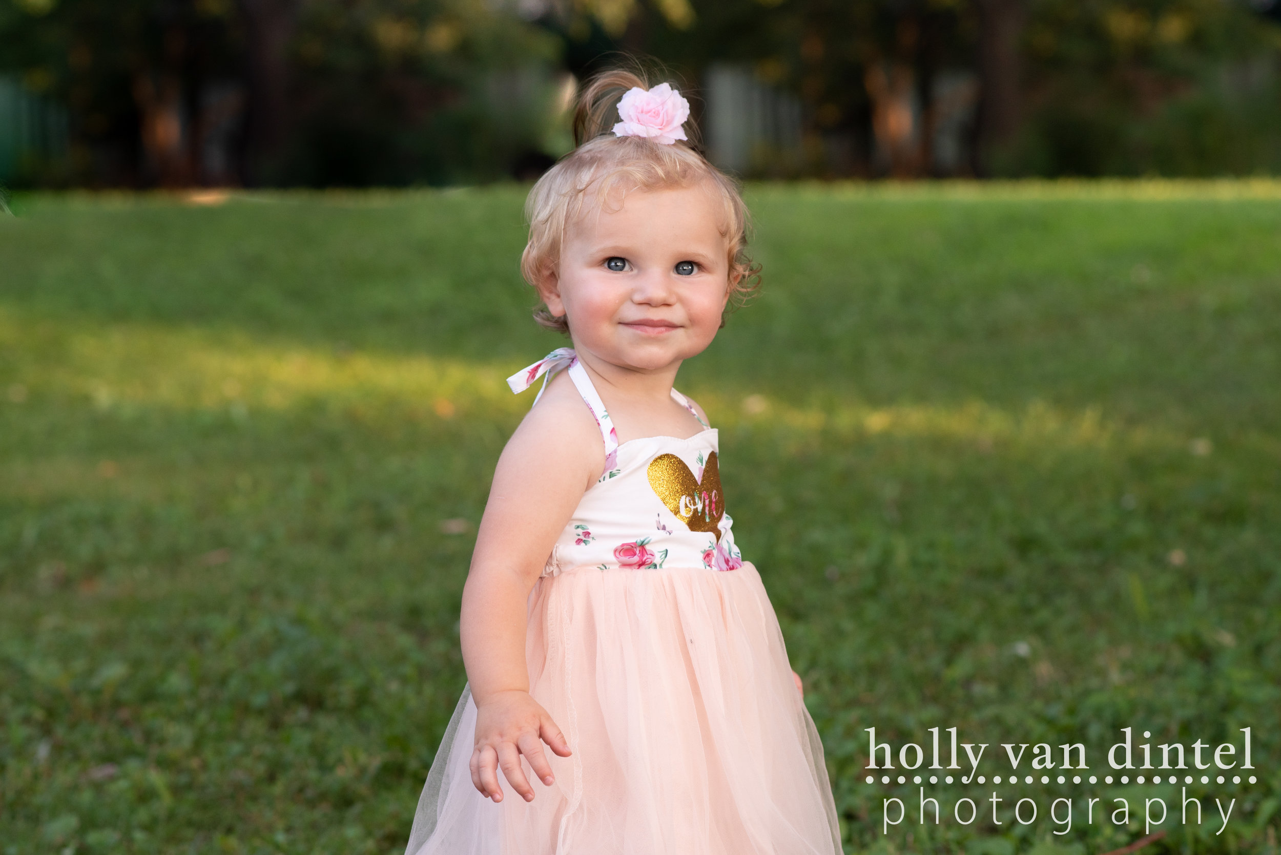 Little girl in pink tutu dress. First birthday pictures.